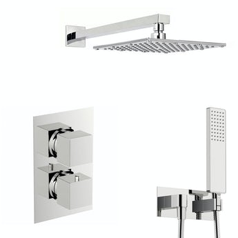 Mode Spa square thermostatic twin shower valve with diverter and wall shower outlet set