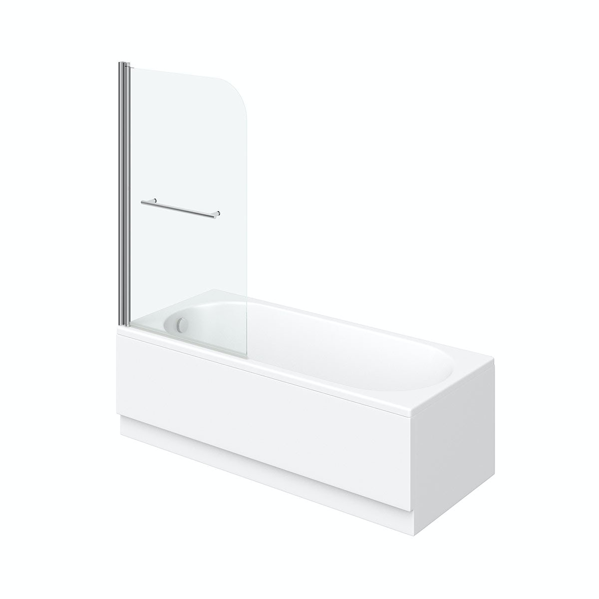 Orchard round edge straight shower bath with 6mm shower screen and rail
