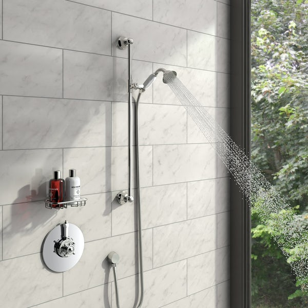 Dulwich Thermostatic Dual Valve and Riser Rail Set