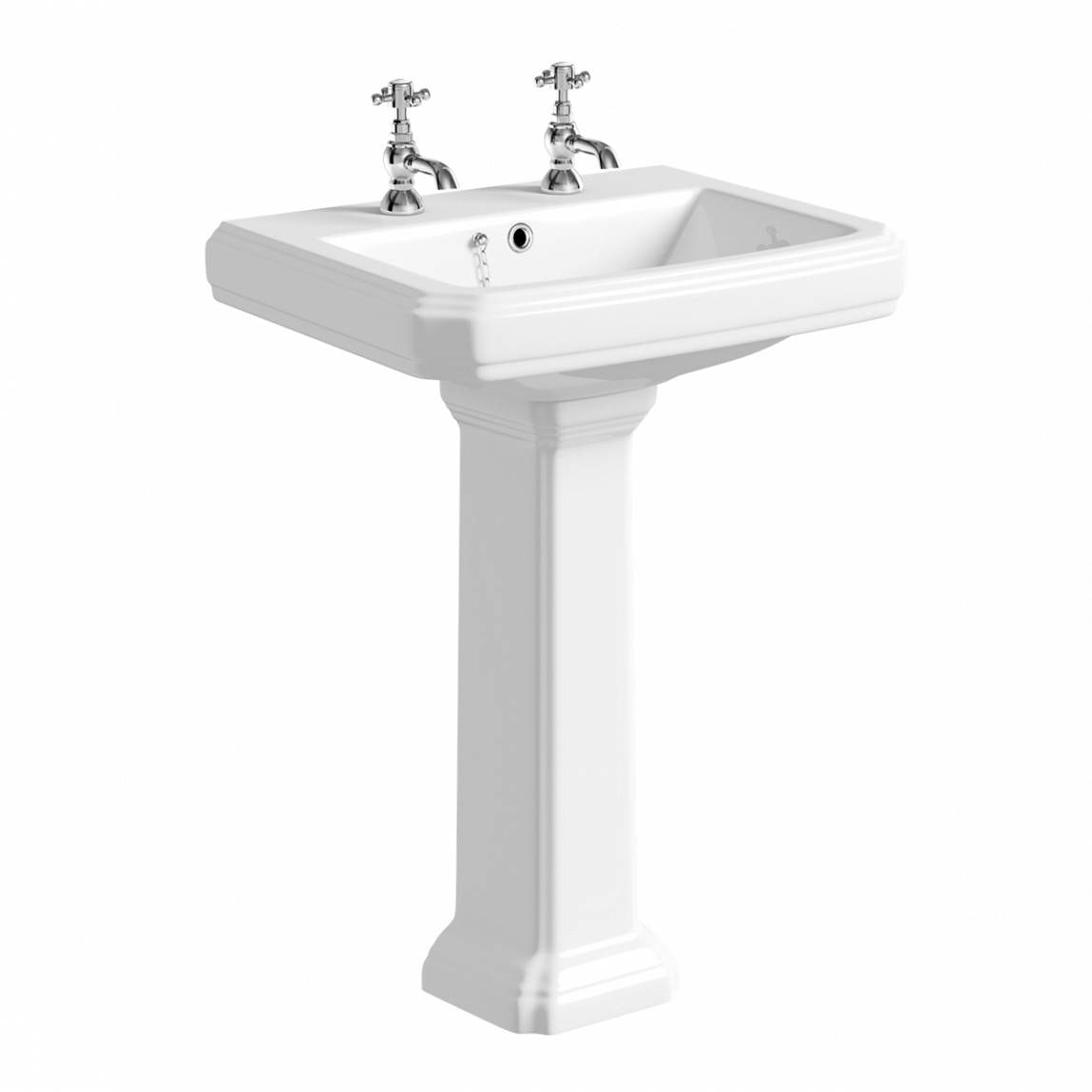 The Bath Co. Dulwich 2 tap hole full pedestal basin 600mm with waste