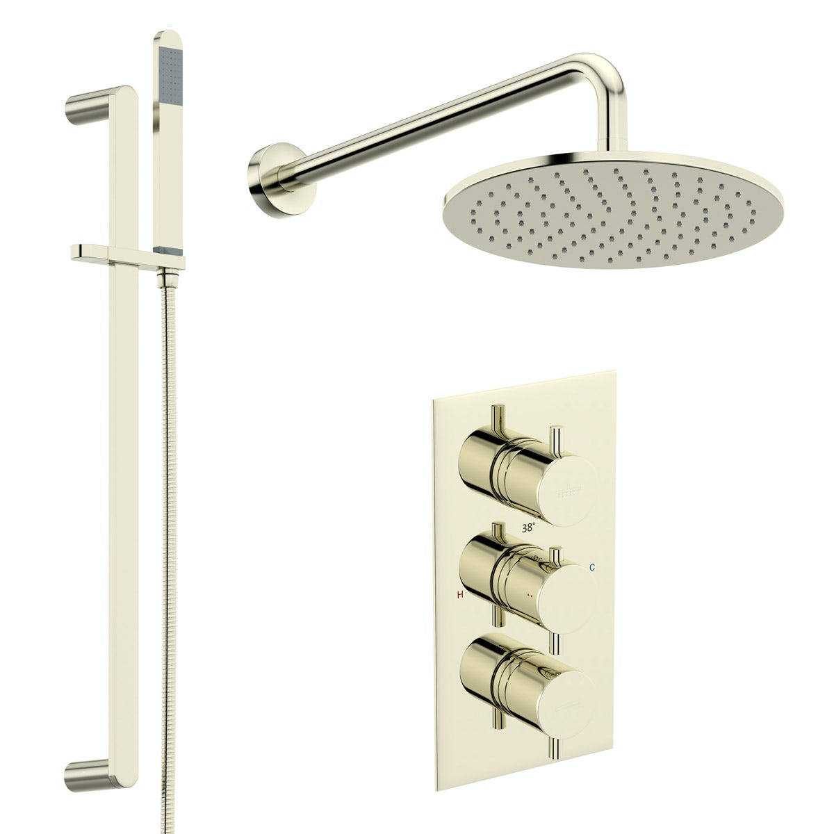 Mode Spencer round gold triple valve shower set