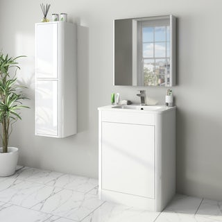 Mode carter ice white furniture package with vanity unit 600mm