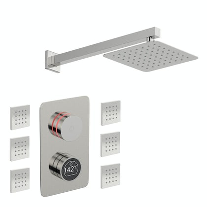 Mode Touch digital thermostatic shower valve with wall arm, square body jets and shower head set
