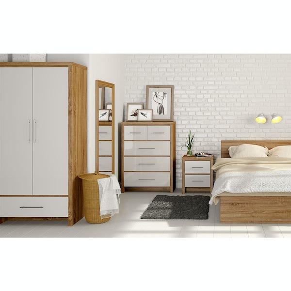 London Oak & White Gloss 2 Drawer Bedside