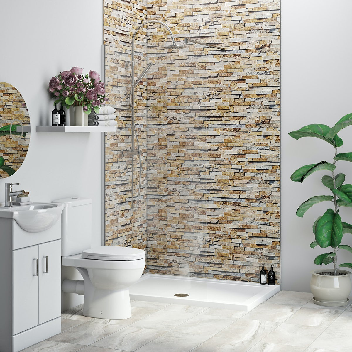 Multipanel Economy Rustic Brick shower wall single panel 1000mm