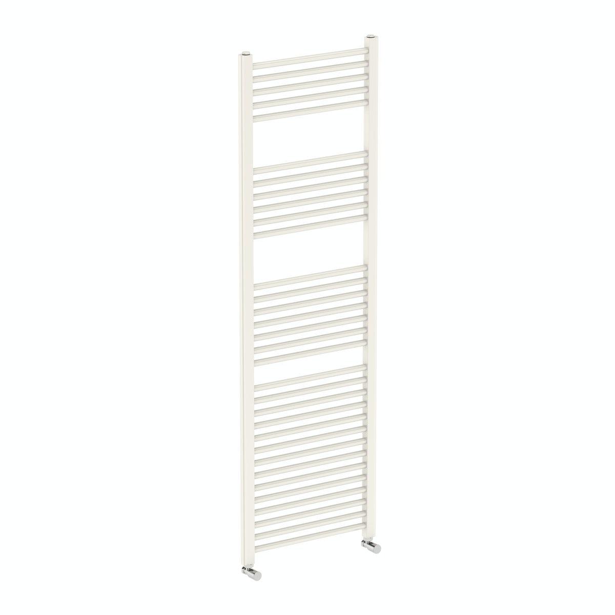 Eden round white heated towel rail 1600 x 500