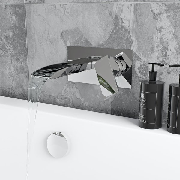Mode Cooper wall mounted waterfall bath mixer tap offer pack