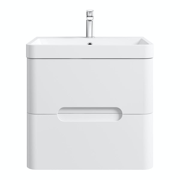 Mode Ellis white wall hung vanity drawer unit and basin 600mm