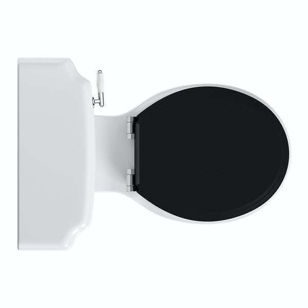 Dulwich close coupled toilet with wooden toilet seat black with pan connector