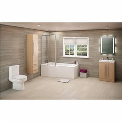 Drift sawn oak suite with left handed Boston L shaped shower bath 1700 x 850