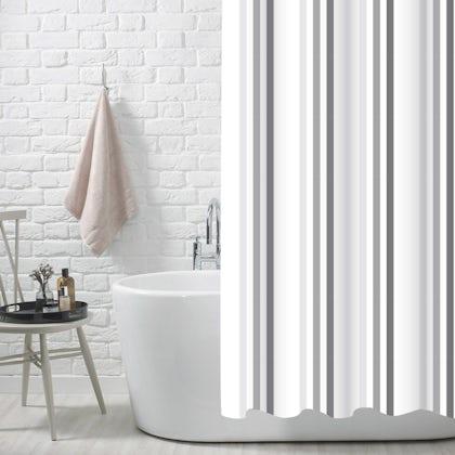Showerdrape Brighton rock grey polyester shower curtain