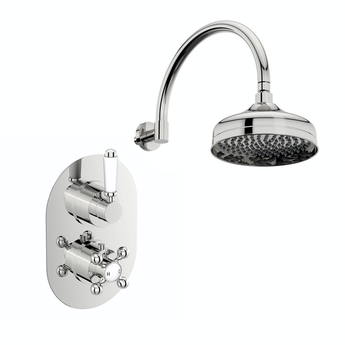 The Bath Co. Camberley thermostatic shower valve with wall shower set