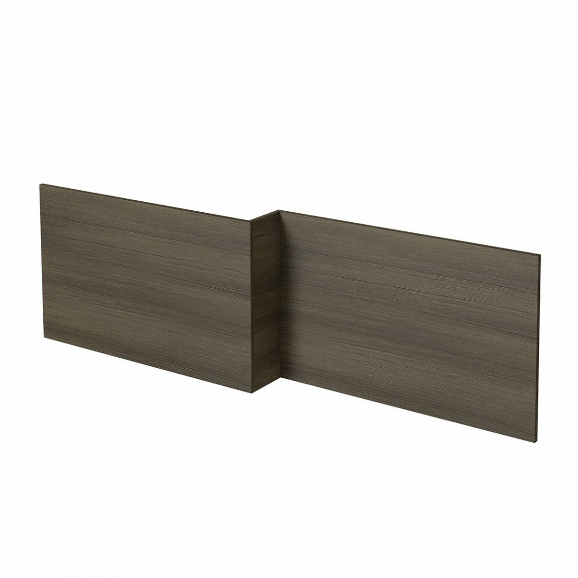 L shaped shower bath wooden front panel Drift walnut 1500mm