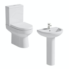 Oakley close coupled toilet suite with full pedestal basin 500mm