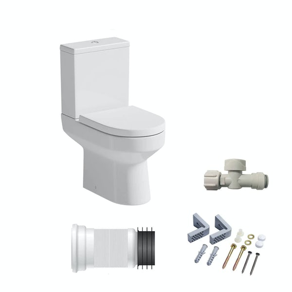 Oakley close coupled toilet with soft close seat and fittings pack