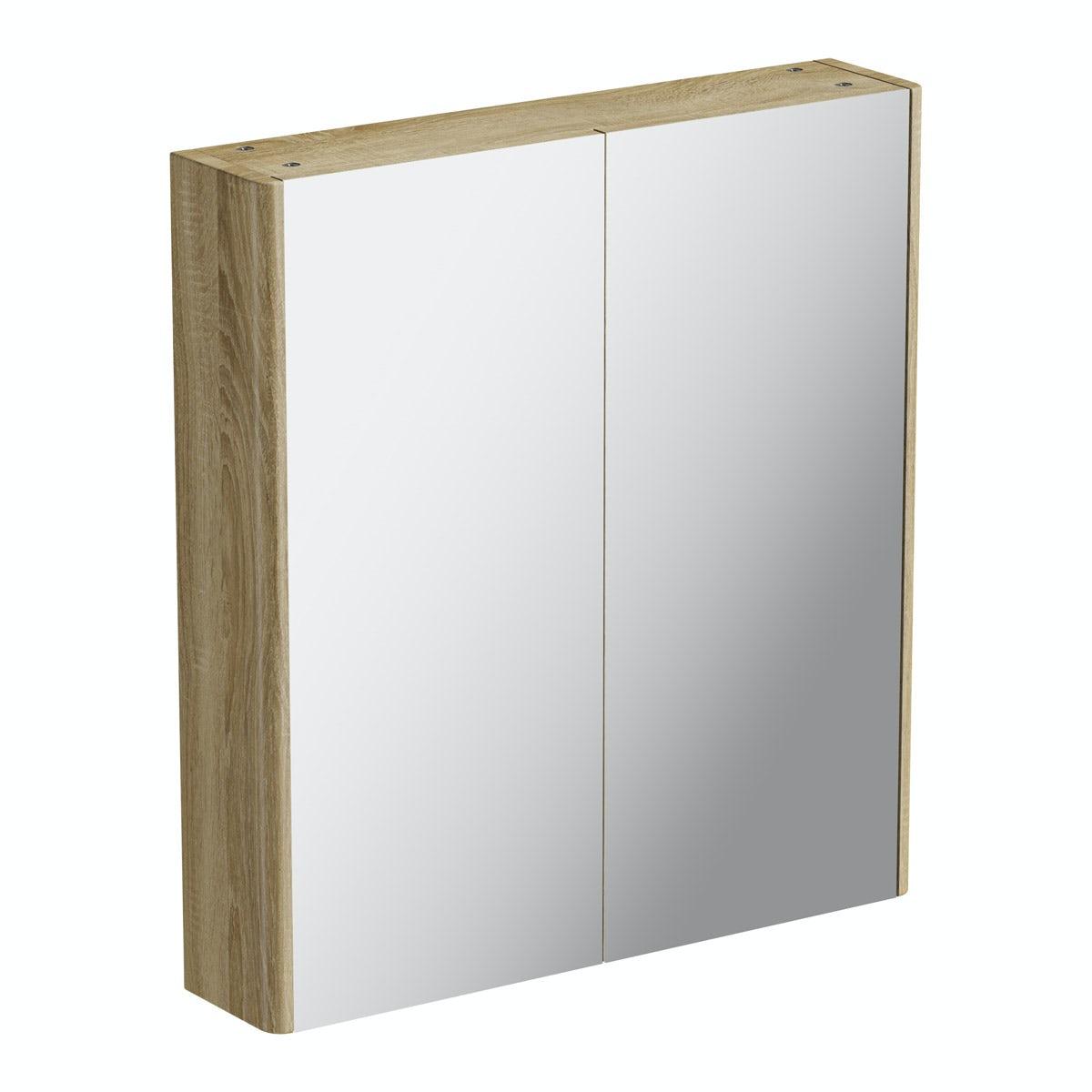 Mode Sherwood oak curved mirror cabinet 600mm