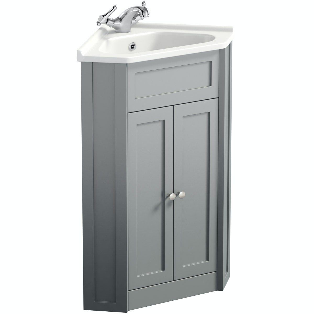 The Bath Co. Camberley satin grey corner unit and basin 580mm