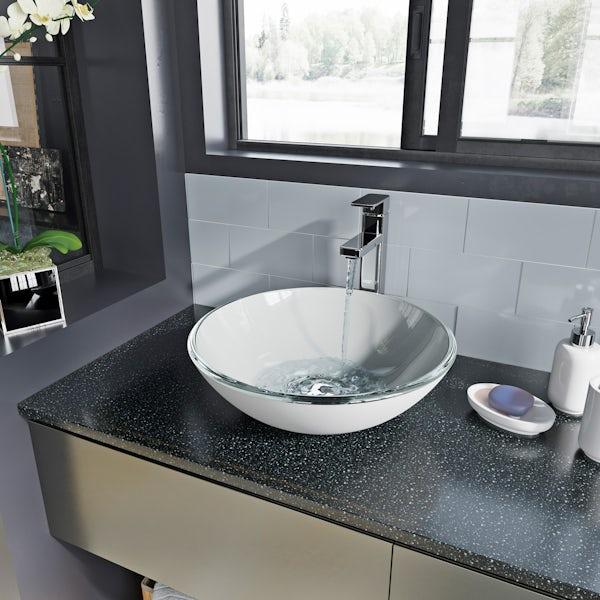 Mode Mackintosh painted white glass countertop basin
