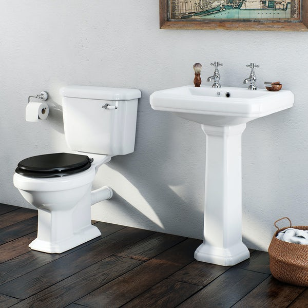 Dulwich toilet suite with black seat and full pedestal basin 600mm