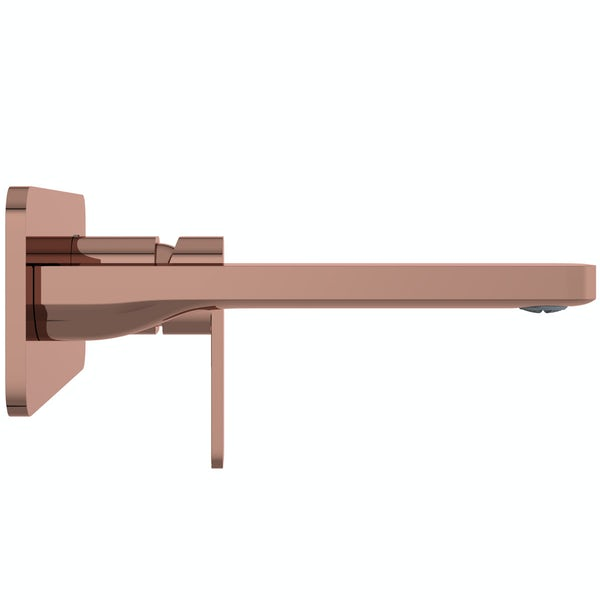 Mode Spencer square wall mounted rose gold basin mixer tap