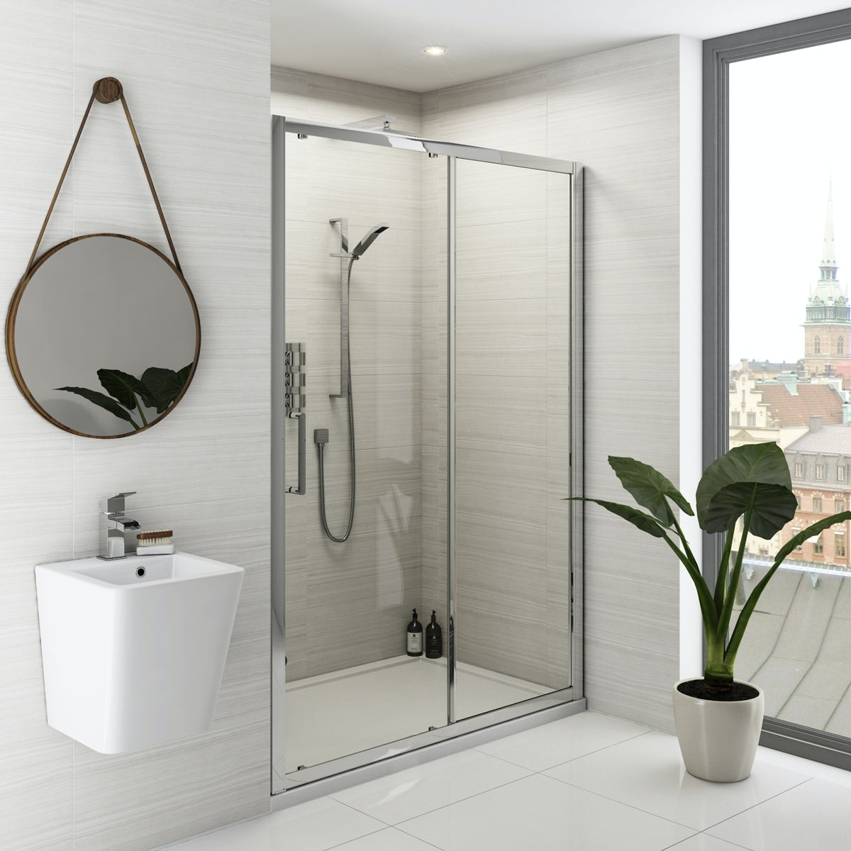 Mode Ellis premium 8mm easy clean sliding shower door 1000mm