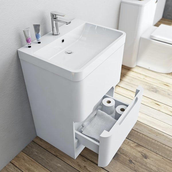 Mode Ellis white vanity drawer unit and basin 600mm