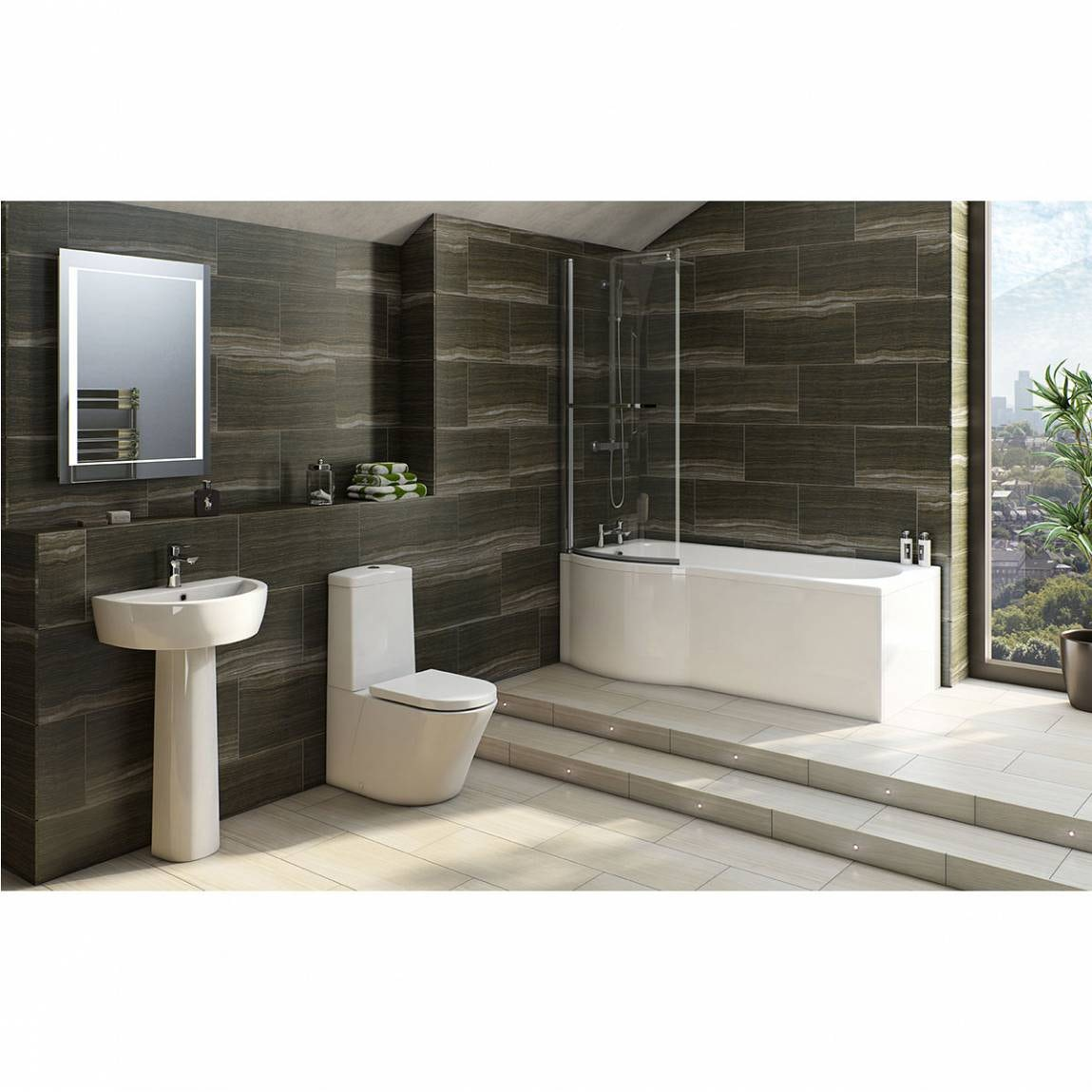 Mode Tate bathroom suite with left handed P shaped shower bath 1675 x 850