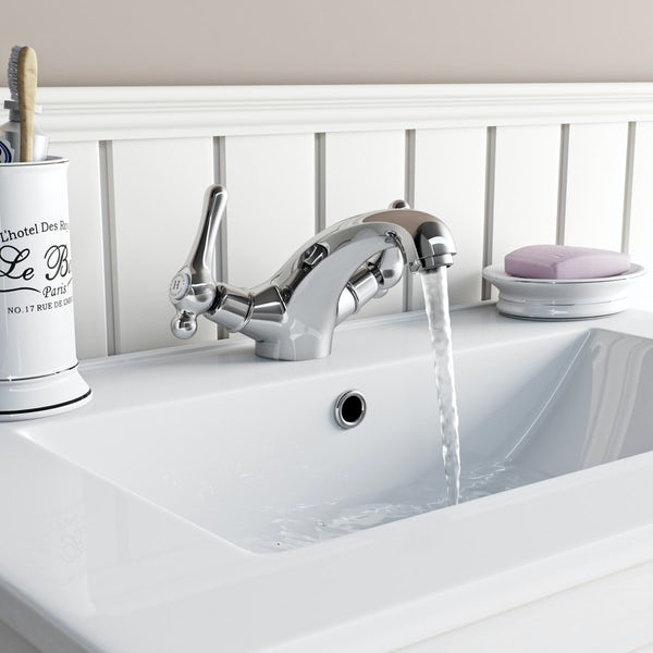 The Bath Co. Camberley lever basin mixer and bath pillar tap pack