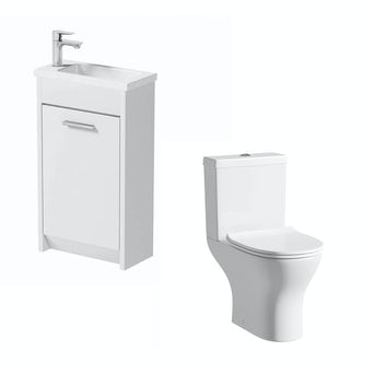 Smart Compact White Unit with Compact Round Toilet
