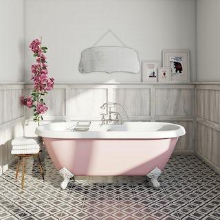 Victoria rose coloured bath with Hampshire shower bath mixer tap