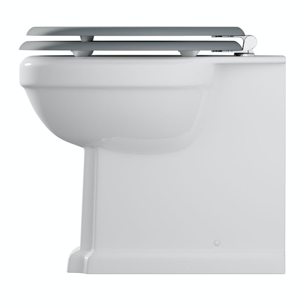 The Bath Co. Camberley back to wall toilet inc grey soft close seat