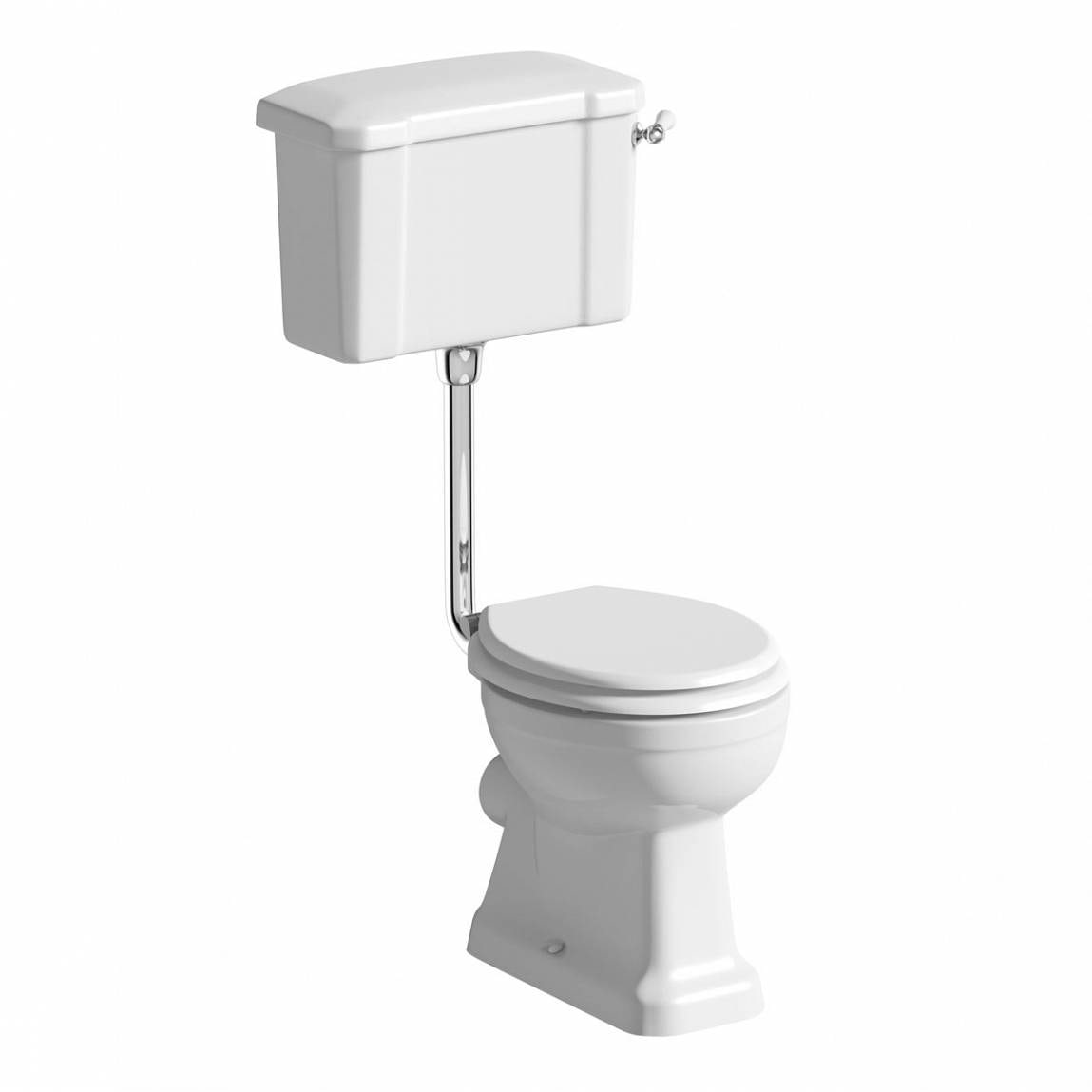 The Bath Co. Camberley low level toilet with wooden soft close seat white with pan connector