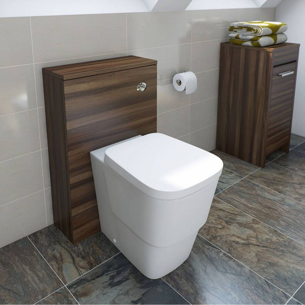 Clarity walnut back to wall toilet unit and Arte toilet with seat