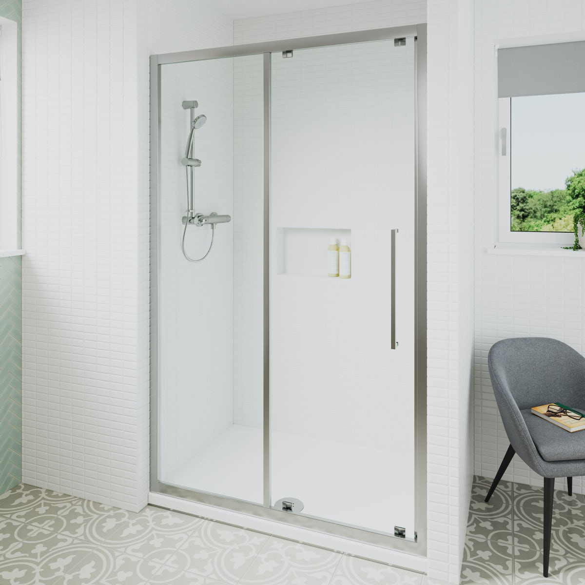 Ideal Standard 6mm sliding rectangular shower door with tray