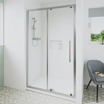 Ideal Standard 6mm sliding door rectangular shower door with tray 1200 x 800