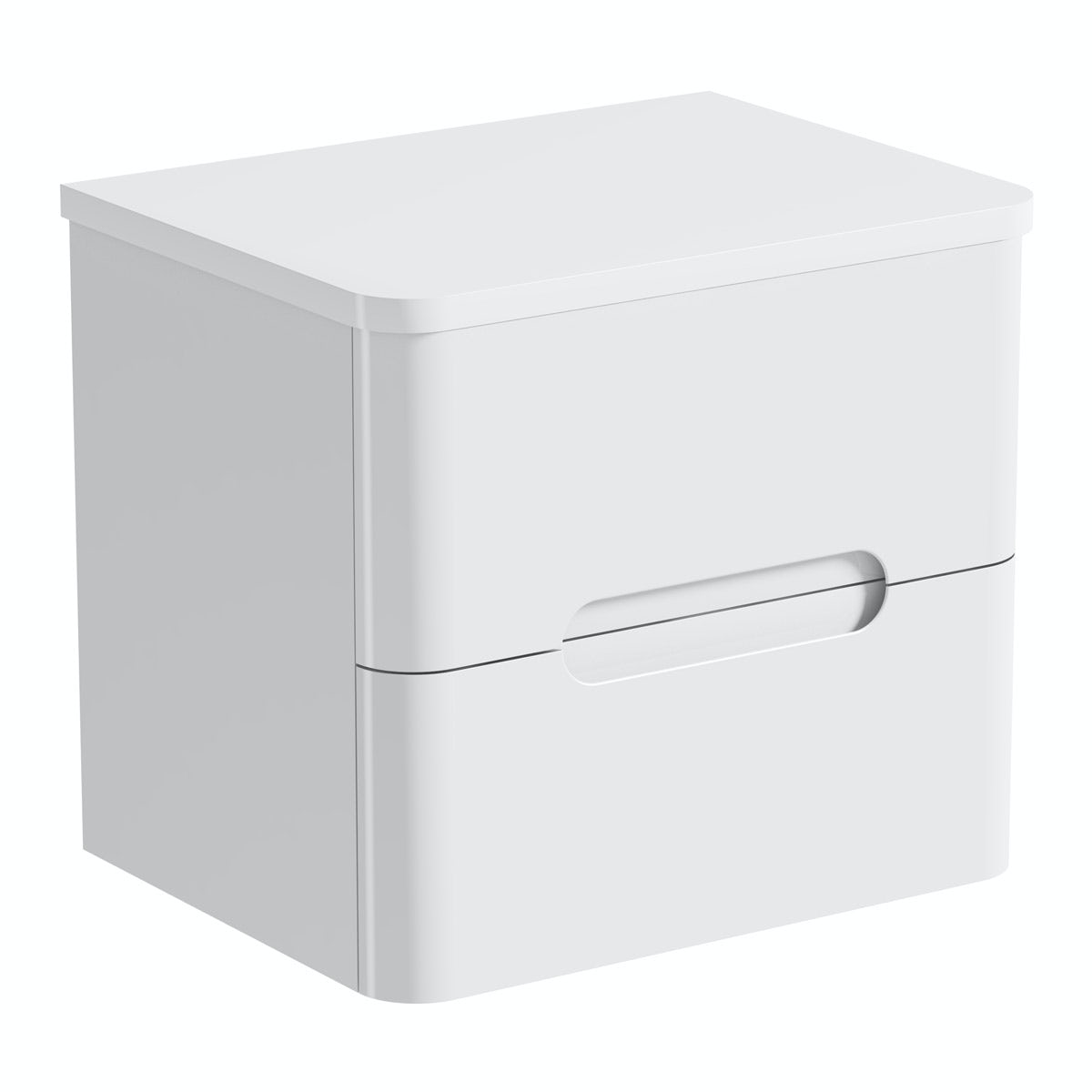 Mode Ellis white wall hung vanity drawer unit and countertop 600mm