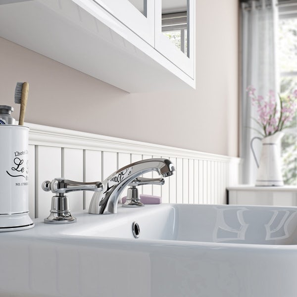 The Bath Co. Camberley lever 3 hole basin mixer tap offer pack