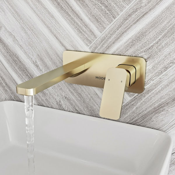 Mode Spencer square wall mounted gold basin mixer tap