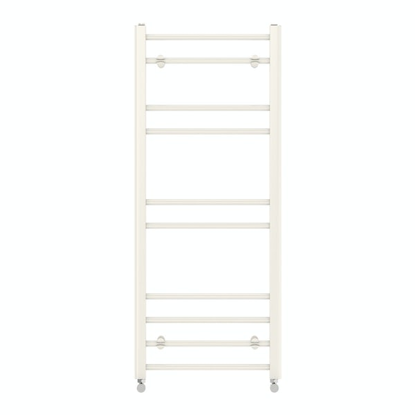 Clarity white heated towel rail 1200 x 500