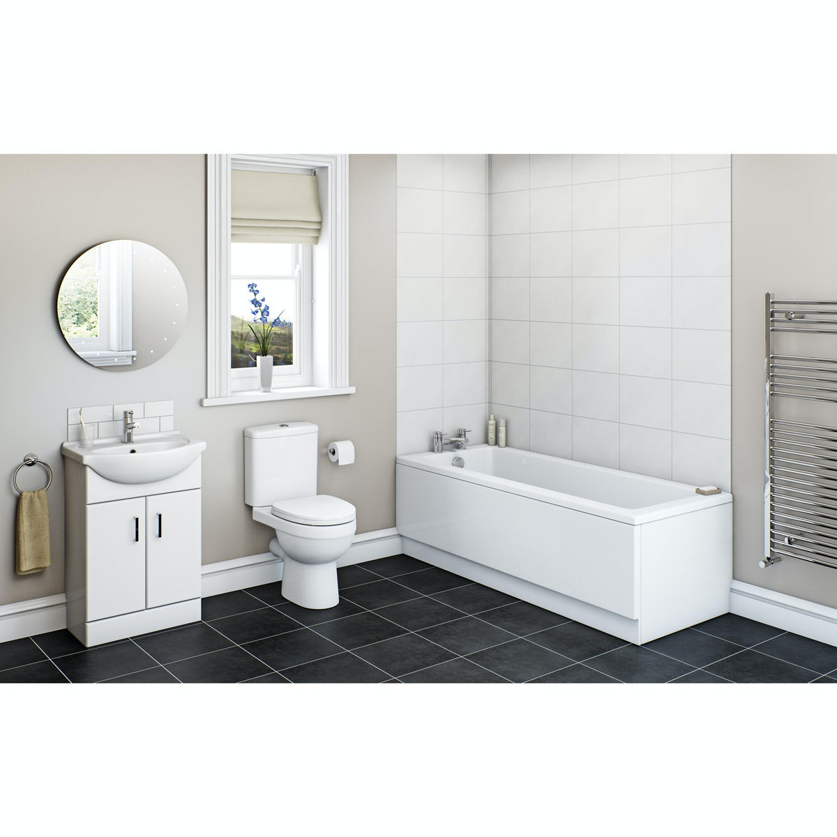 Orchard Eden white vanity bathroom suite with straight bath