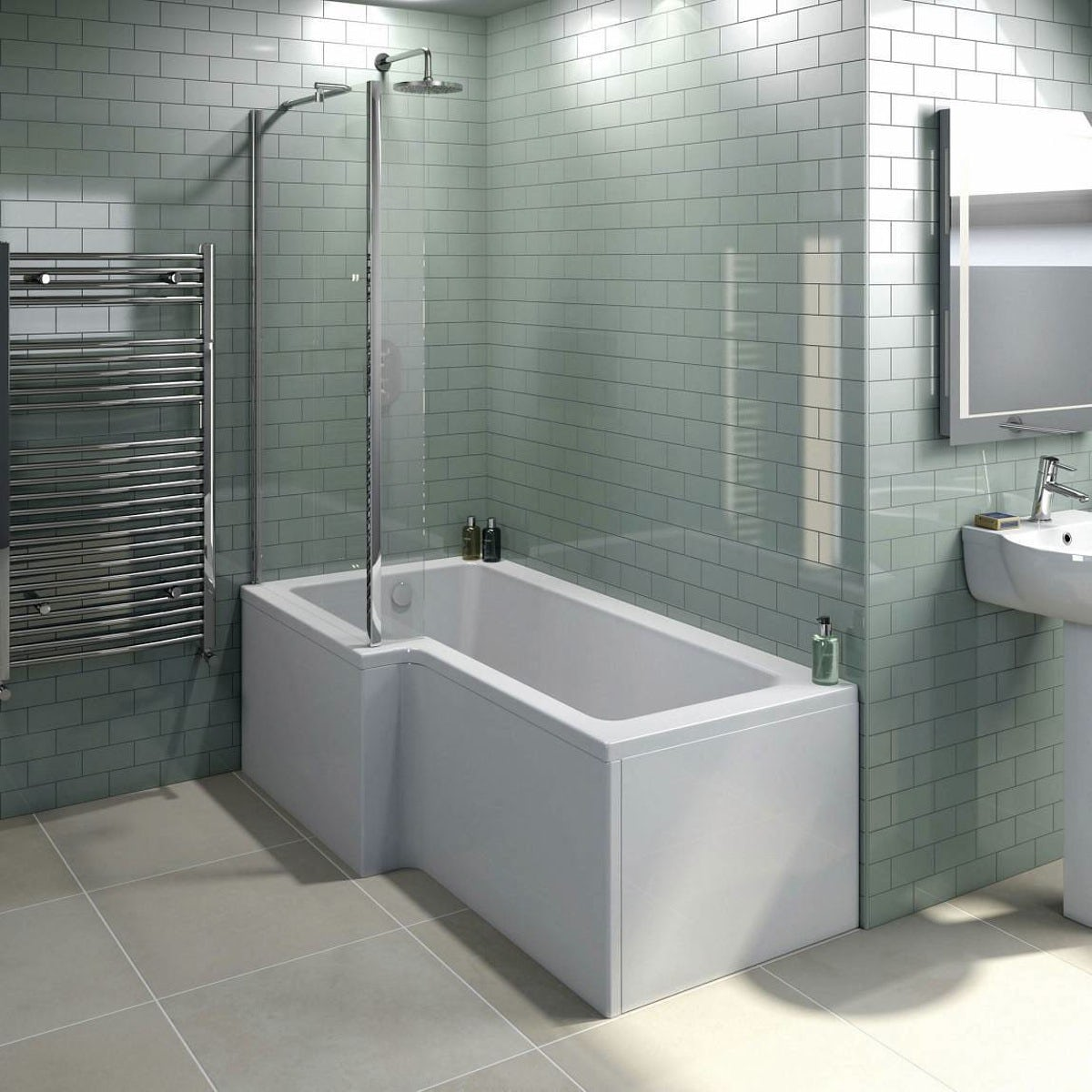 Free Delivery L Shaped Left Handed Shower Bath 1500mm With 6mm Screen