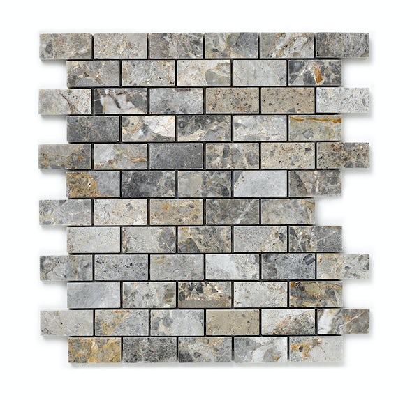 British Ceramic Tile Mosaic stone beige gloss tile 300mm x 300mm - 1 sheet