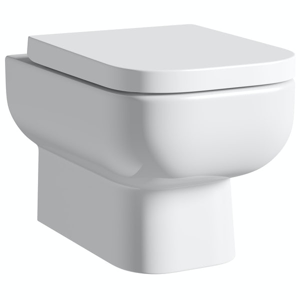 RAK Series 600 wall hung toilet with soft close seat and Grohe wall mounting frame