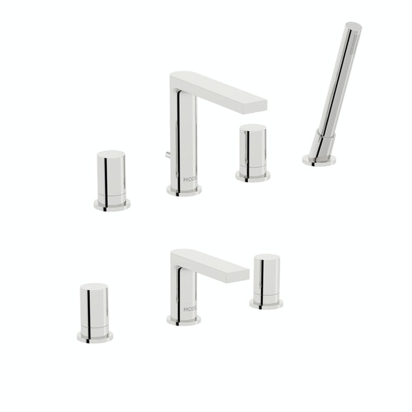 Mode Heath 3 hole basin and 4 hole bath shower mixer tap pack