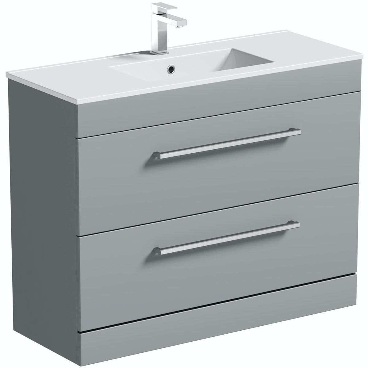Orchard Derwent grey vanity drawer unit and basin 1000mm