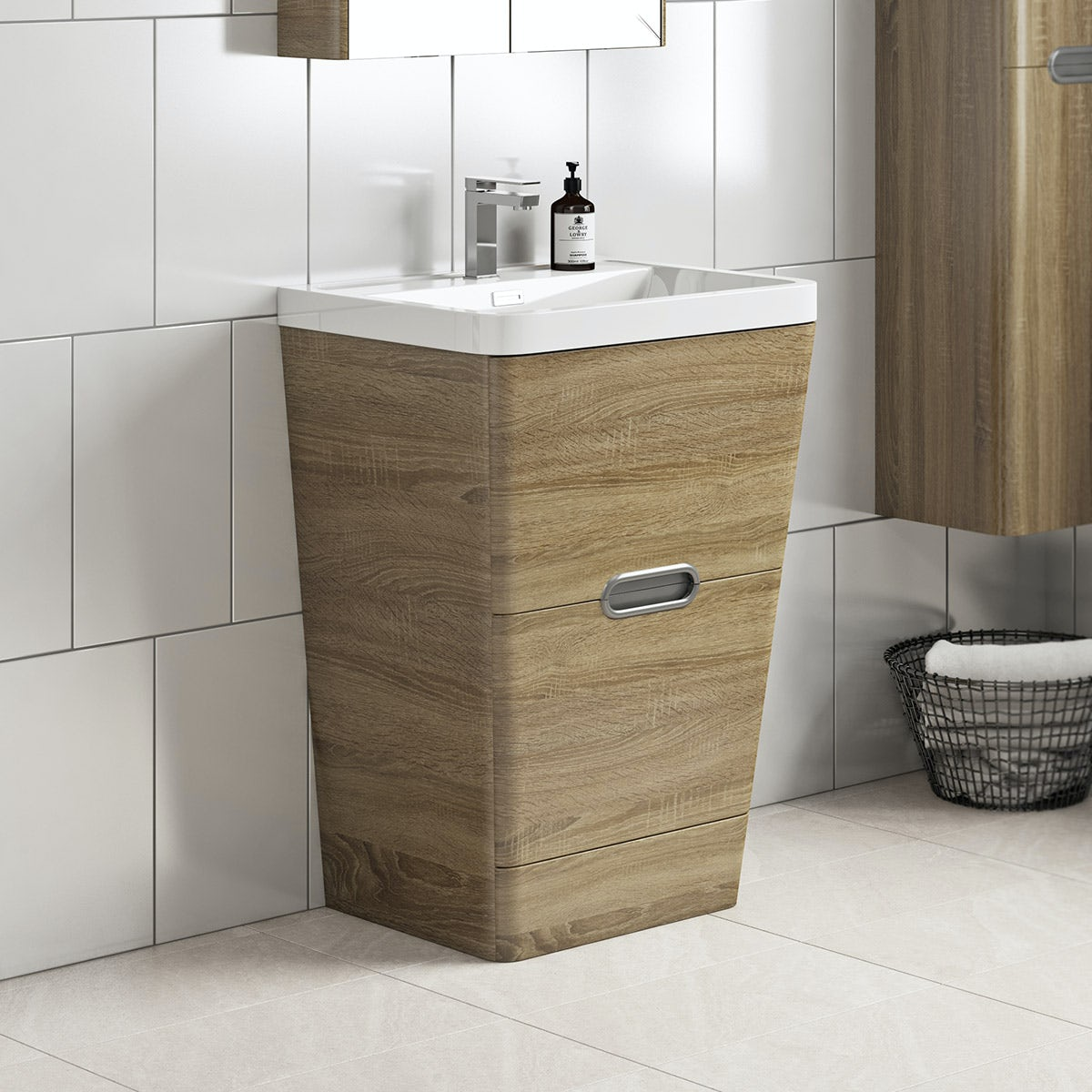 Mode Sherwood oak floor standing vanity unit and resin basin 600mm