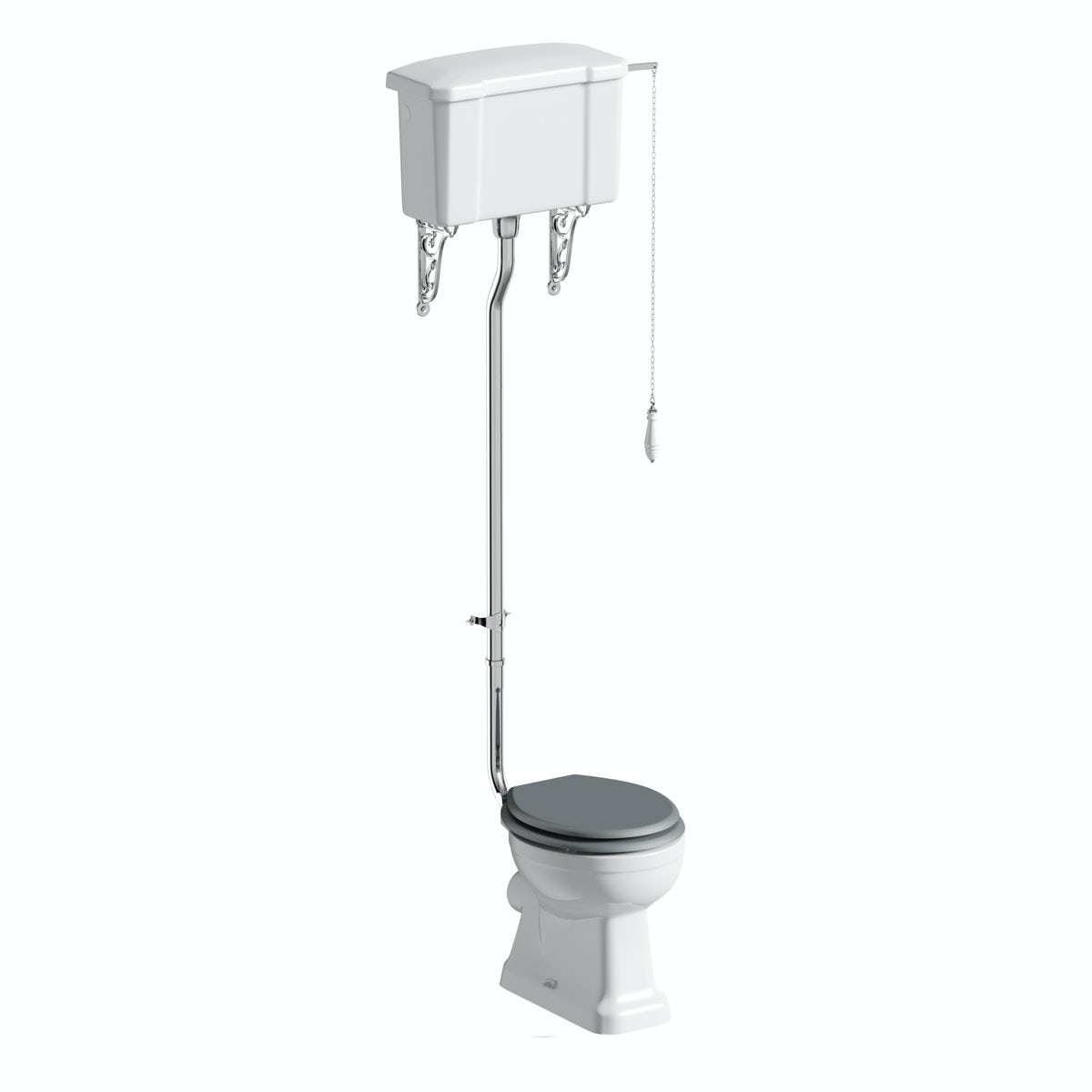 The Bath Co. Camberley high level toilet inc grey soft close seat with pan connector