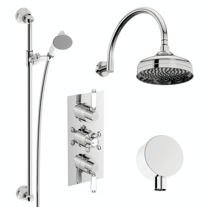 Traditional Thermostatic Triple Valve Complete Shower Set