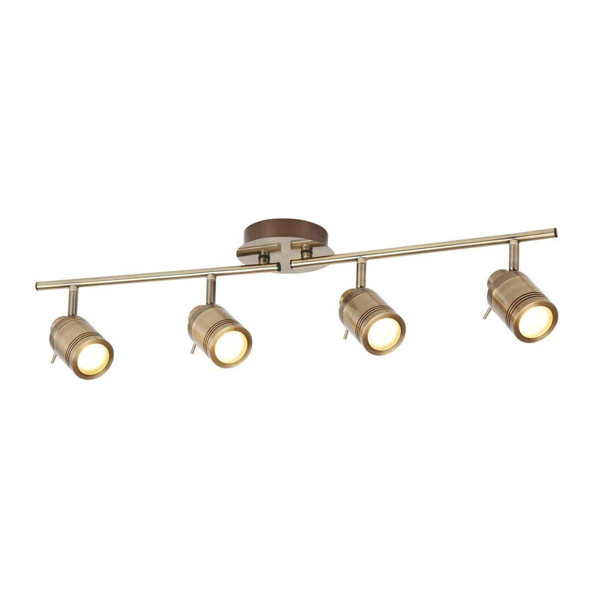 Searchlight Samson antique brass 4 light bathroom ceiling light