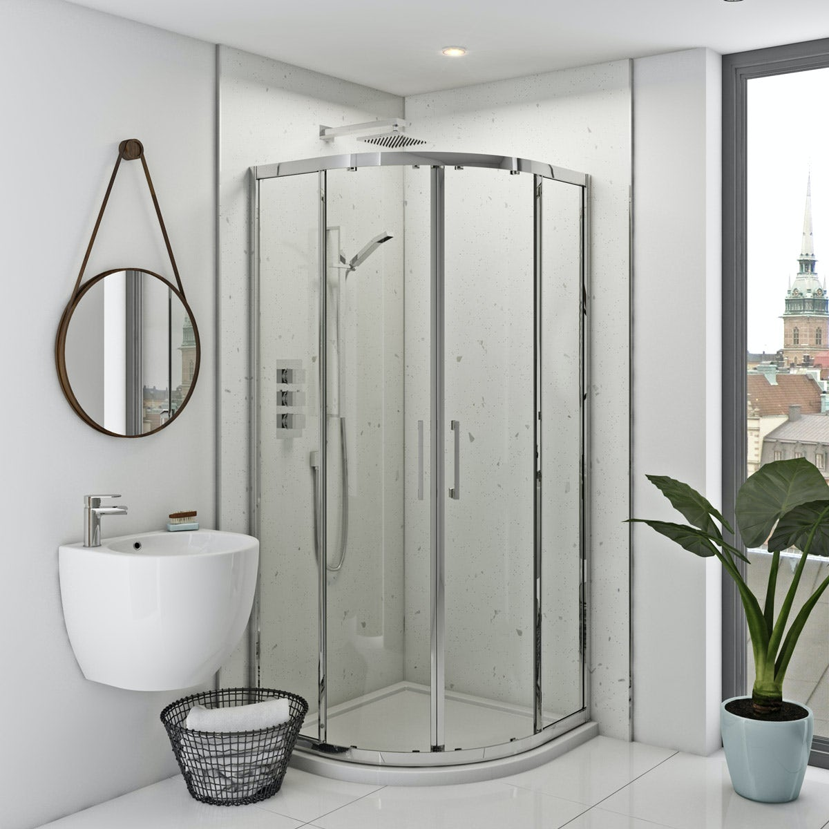 Multipanel Classic White Snow Hydrolock shower wall panel